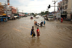 Mega flood in Thailand 2011. Stock Photos