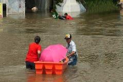 Mega flood in Thailand 2011. AYUTTHAYA, THAILAND - OCTOBER 9: Heavy flooding from monsoon rain in Ayutthaya and north Thailand arriving in Ayutthaya suburbs on Stock Image