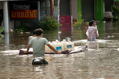 Mega flood in Thailand 2011. Royalty Free Stock Photos