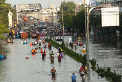 Mega flood in Thailand 2011. Royalty Free Stock Photo