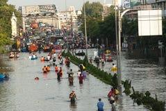 Mega flood in Thailand 2011. Bangkok, Thailand - OCTOBER 30: Heavy flooding from monsoon rain arriving in Bangkok suburbs on October 30, 2011 in Bangkok Royalty Free Stock Photo