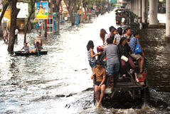 Mega flood in Thailand 2011. Royalty Free Stock Photo