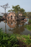 Mega floods at Ayuttaya temple in Thailand. Stock Image