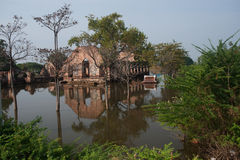 Mega floods at Ayuttaya temple in Thailand. Stock Photography
