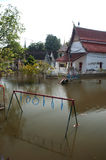 Mega floods at Ayuttaya temple in Thailand. Stock Images