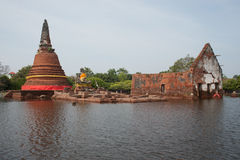 Mega floods at Ayuttaya temple in Thailand. Royalty Free Stock Photo
