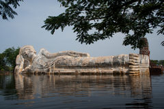 Mega floods at Ayuttaya temple in Thailand. Royalty Free Stock Image