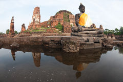 Mega floods at Ayuttaya temple in Thailand. Stock Photo