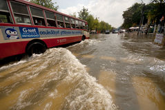 Mega floods at Bangkok in Thailand. Royalty Free Stock Image