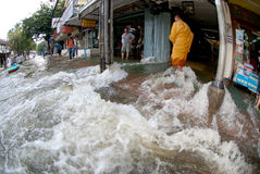Mega floods at Bangkok in Thailand. Stock Images