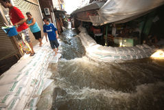 Mega floods at Bangkok in Thailand. Royalty Free Stock Photography