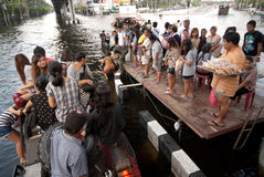 Mega floods at Bangkok in Thailand. Royalty Free Stock Images