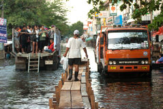 Mega floods at Bangkok in Thailand. Stock Photos