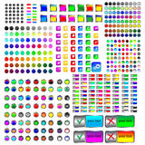 MEGA glass buttons. Mega collection of glass buttons for designers to different necessities on a white background Stock Images