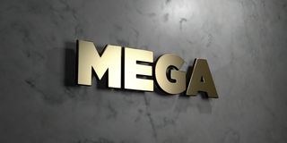Mega - Gold sign mounted on glossy marble wall  - 3D rendered royalty free stock illustration. This image can be used for an online website banner ad or a Royalty Free Stock Photo