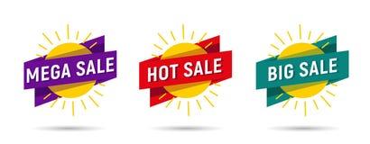 Mega- heiße große Verkaufsaufkleberumbauten auf Sonne mit Band lizenzfreie abbildung