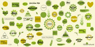 Mega icon pack organic subjects and blank backgrounds for your extra labels. Organic food, farm fresh and natural product icons and elements collection for food Stock Photos
