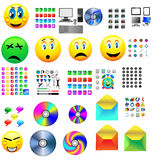 Mega icons. Mega collection of colored buttons and icons for designers to different necessities on a white background Stock Photos