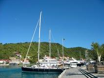 Mega jachty w Gustavia Ukrywają przy St. Barts Zdjęcie Stock