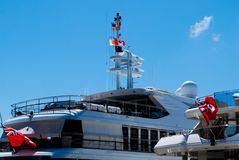 Mega jachty w St Thomas Obrazy Stock
