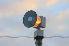 Mega loud speaker. On pole in the street Royalty Free Stock Photos