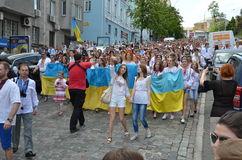 Mega march of embroideries in Kiev Stock Images