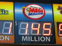 Mega Millions lottery sign with 145 Million jack pot in NJ. 2016, USA. Г. Royalty Free Stock Photography