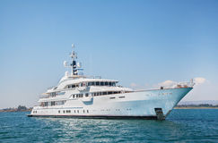 Mega motor yacht on the blue ocean. royalty free stock photography
