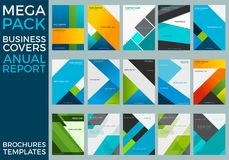 Mega Pack of Business Annual Report Brochure Templates, Squares, Lines, Triangles, Waves stock illustration
