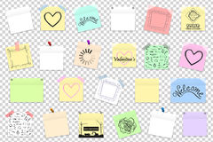 Mega pack of colored office paper stickers with shadow isolated royalty free illustration