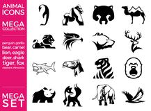 Mega Pack and Mega Set Vector Animals Icons Set. EPS 10 Stock Photos