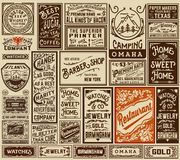 Mega pack old advertisement designs and labels - Vector illustra. Mega pack old advertisement designs and labels Royalty Free Stock Photos