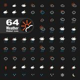 Mega pack of weather icons. 64 weather vector icons set , eps 10 vector illustration