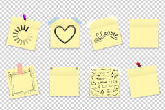 Mega pack of yellow office paper stickers with shadow isolated vector illustration