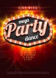 Mega Partyjnego tana tła Plakatowy szablon z retro światło ramą na czerwonym płomienia tle - Wektorowa ilustracja Obrazy Royalty Free
