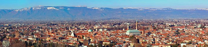 30 Mega pixels Panorama of the city of Vicenza in Northern Italy stock image
