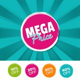Mega price color banner and 10%, 20%, 30% & 40% Off Marks. Vector illustration. Eps10 Vector Royalty Free Stock Images