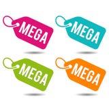 Mega price Tags. Flat Eps10 Vector Illustration. Mega price Tags. Flat Eps10 Vector Illustration for commercial promotion Stock Photos