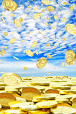 Mega profit. Coins of 10 rubles to hover in the sky Stock Images