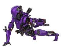 Mega purple robot super drone in a white background stock illustration