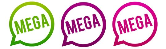 Mega - Round web Buttons. Circle Eps10 Vector. Three different colour stock illustration