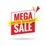 Mega Sale överskriftdesign för baner eller affisch Sale och rabatt Arkivfoto