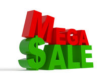 Mega sale - 3d text. Mega sale - green and red 3d text,  on white Stock Image