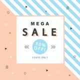 Mega Sale baner med geometriska former i scandinavian moderiktig stil Arkivbilder