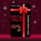 Mega Sale. Banner for the sale ads with realistic gift boxes and diamond, bows and ribbons vector illustration