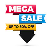 Mega sale banner, big sale poster design. Stock Photo