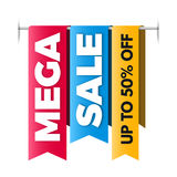 Mega sale banner, big sale poster design. Stock Photos