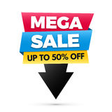 Mega sale banner, big sale poster design. Stock Photography