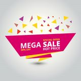 Only Mega Sale banner. Big super sale. For web design and application interface, also useful for infographics. Vector illustration Royalty Free Stock Photography