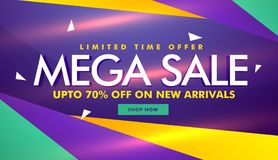 Mega sale banner design for your brand promotion Royalty Free Stock Photo